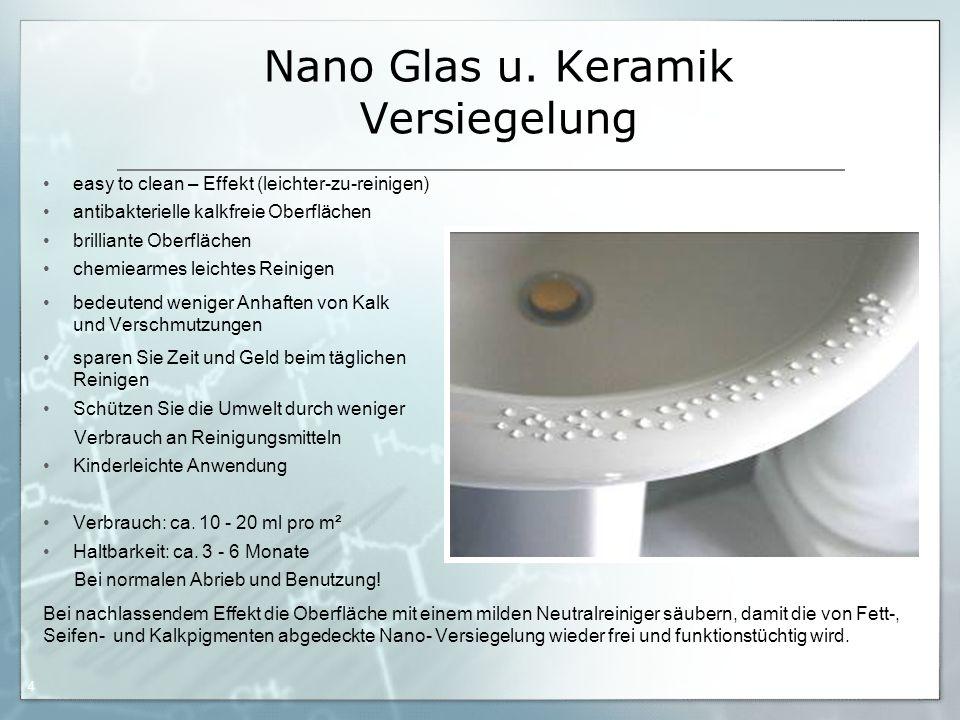 05.09.06 by Frank Matvos /2006 4 Nano Glas u. Keramik Versiegelung easy to clean – Effekt (leichter-zu-reinigen) antibakterielle kalkfreie Oberflächen
