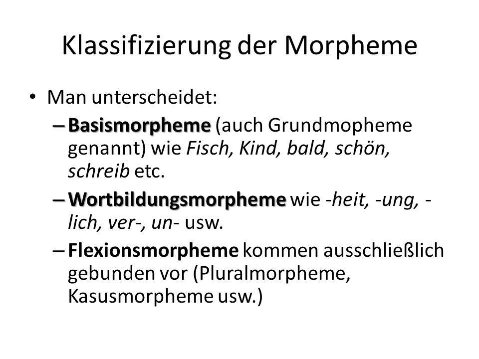 Klassifizierung der Morpheme Man unterscheidet: – Basismorpheme – Basismorpheme (auch Grundmopheme genannt) wie Fisch, Kind, bald, schön, schreib etc.