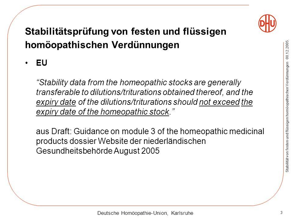 Deutsche Homöopathie-Union, Karlsruhe Stabilität von festen und flüssigen homöopathischen Verdünnungen ·08.12.2005. 3 Stabilitätsprüfung von festen un