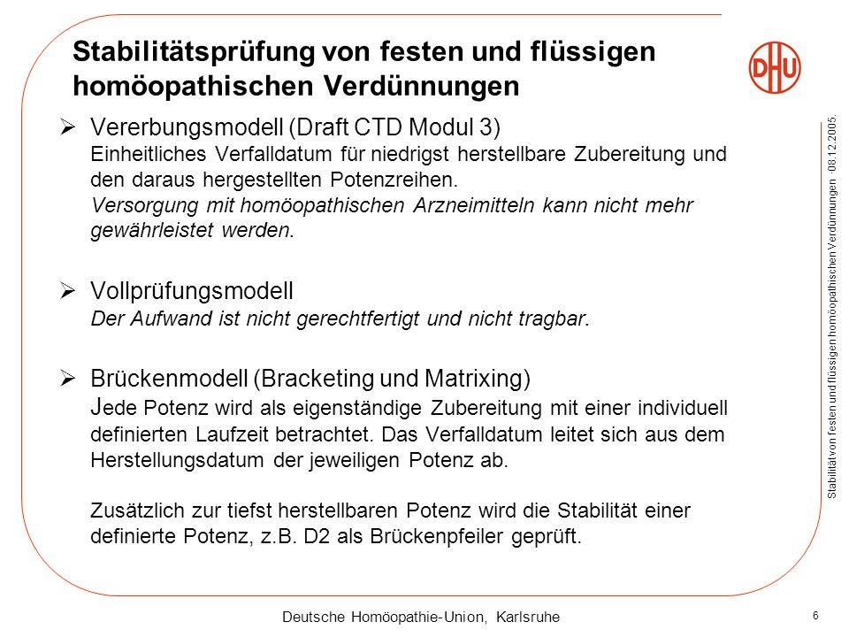 Deutsche Homöopathie-Union, Karlsruhe Stabilität von festen und flüssigen homöopathischen Verdünnungen ·08.12.2005. 6 Stabilitätsprüfung von festen un