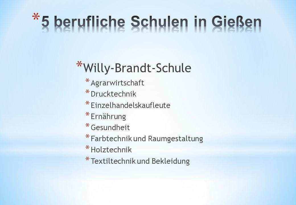 * Willy-Brandt-Schule * Agrarwirtschaft * Drucktechnik * Einzelhandelskaufleute * Ernährung * Gesundheit * Farbtechnik und Raumgestaltung * Holztechnik * Textiltechnik und Bekleidung