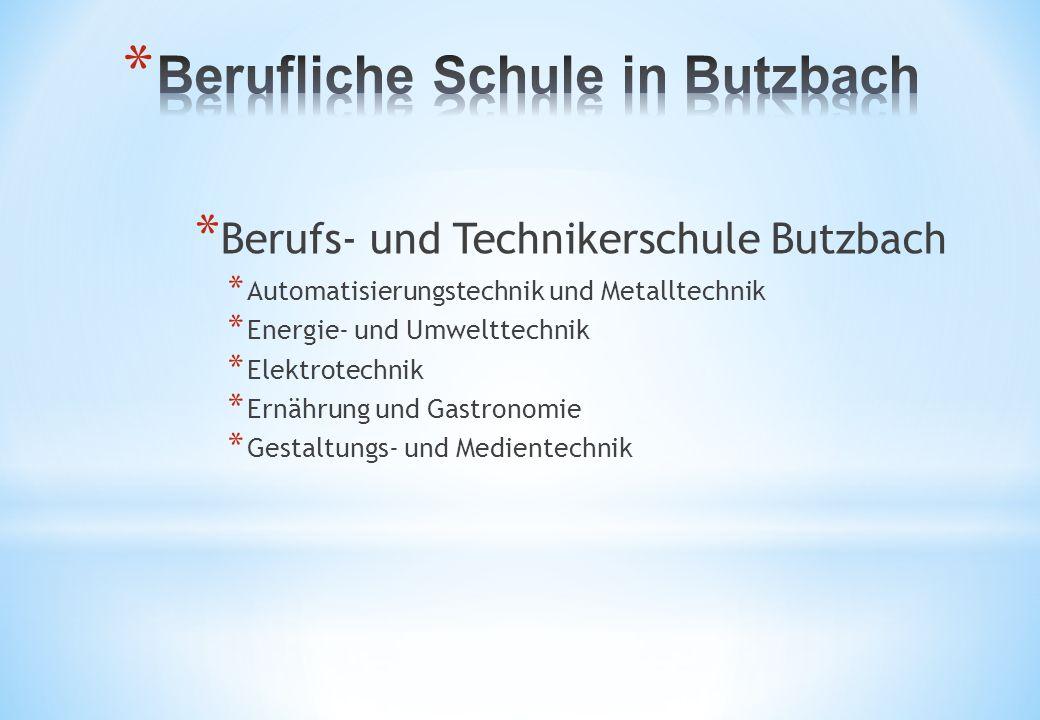 * Berufs- und Technikerschule Butzbach * Automatisierungstechnik und Metalltechnik * Energie- und Umwelttechnik * Elektrotechnik * Ernährung und Gastronomie * Gestaltungs- und Medientechnik
