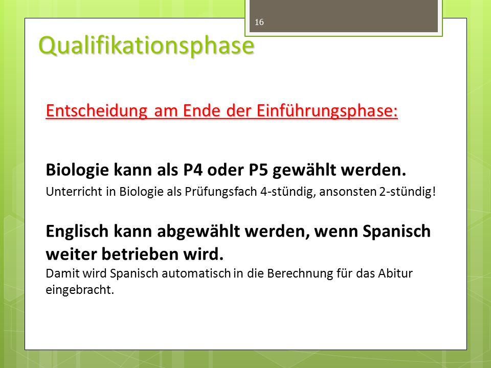 Qualifikationsphase 16 Entscheidung am Ende der Einführungsphase: Biologie kann als P4 oder P5 gewählt werden.