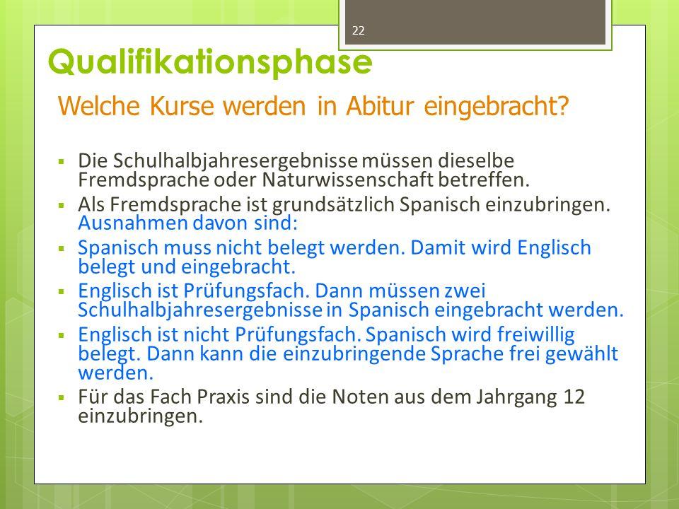 Qualifikationsphase  Die Schulhalbjahresergebnisse müssen dieselbe Fremdsprache oder Naturwissenschaft betreffen.