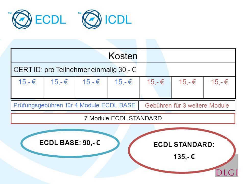 Kosten CERT ID: pro Teilnehmer einmalig 30,- € 15,- € Prüfungsgebühren für 4 Module ECDL BASE 7 Module ECDL STANDARD ECDL BASE: 90,- € ECDL STANDARD: 135,- € Gebühren für 3 weitere Module
