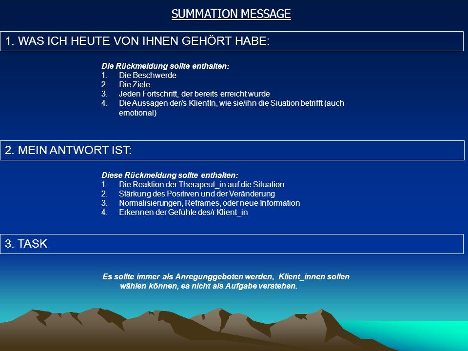SUMMATION MESSAGE 1. WAS ICH HEUTE VON IHNEN GEHÖRT HABE: 2.