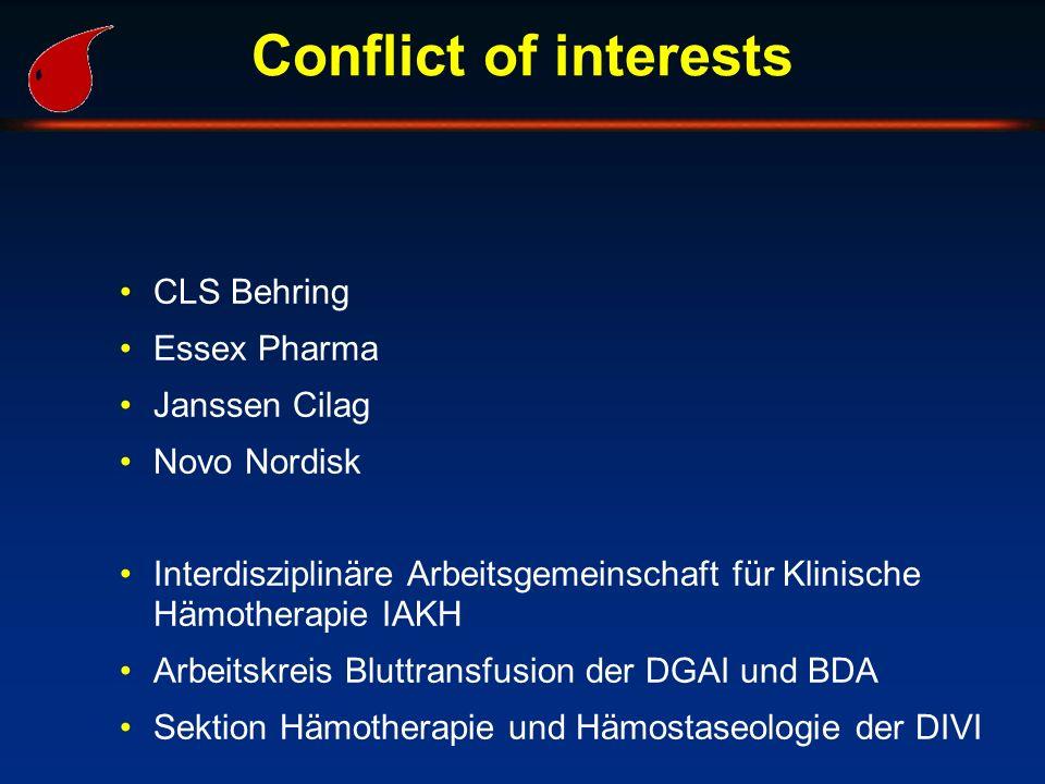 Conflict of interests CLS Behring Essex Pharma Janssen Cilag Novo Nordisk Interdisziplinäre Arbeitsgemeinschaft für Klinische Hämotherapie IAKH Arbeit