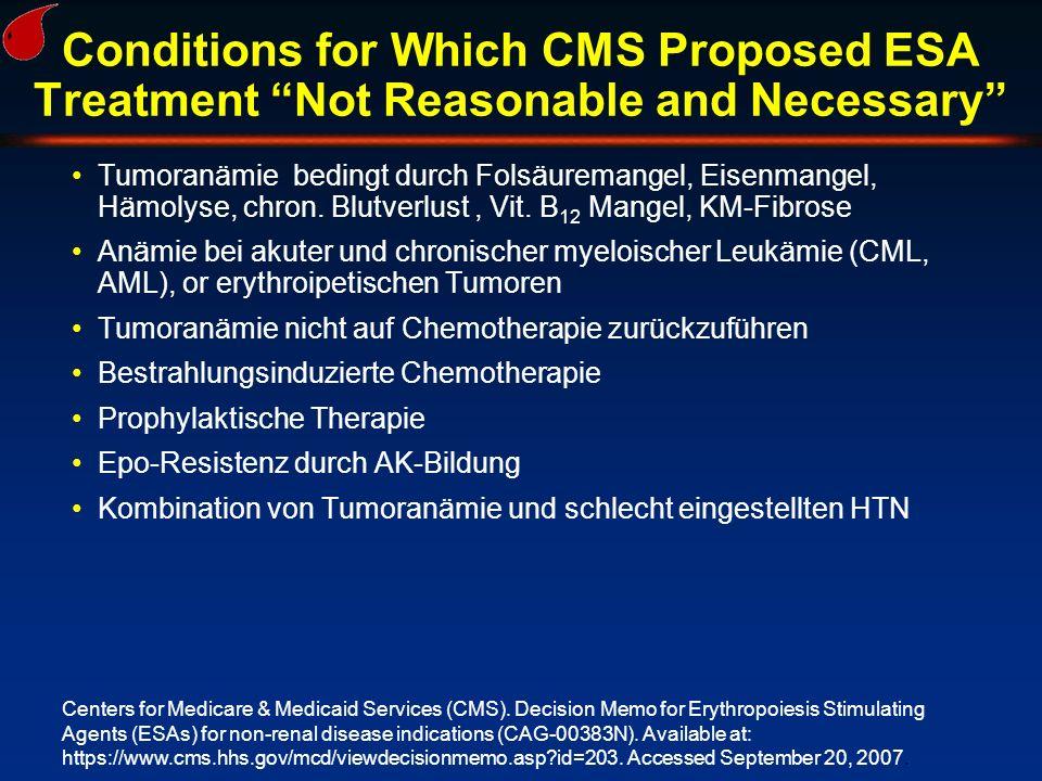 "Conditions for Which CMS Proposed ESA Treatment ""Not Reasonable and Necessary"" Tumoranämie bedingt durch Folsäuremangel, Eisenmangel, Hämolyse, chron."