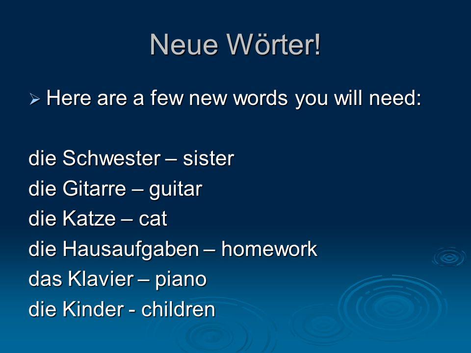 Neue Wörter.