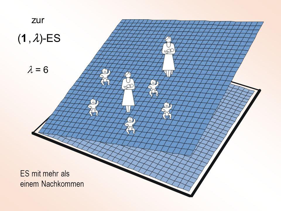 (1, )-ES ES mit mehr als einem Nachkommen = 6 zur