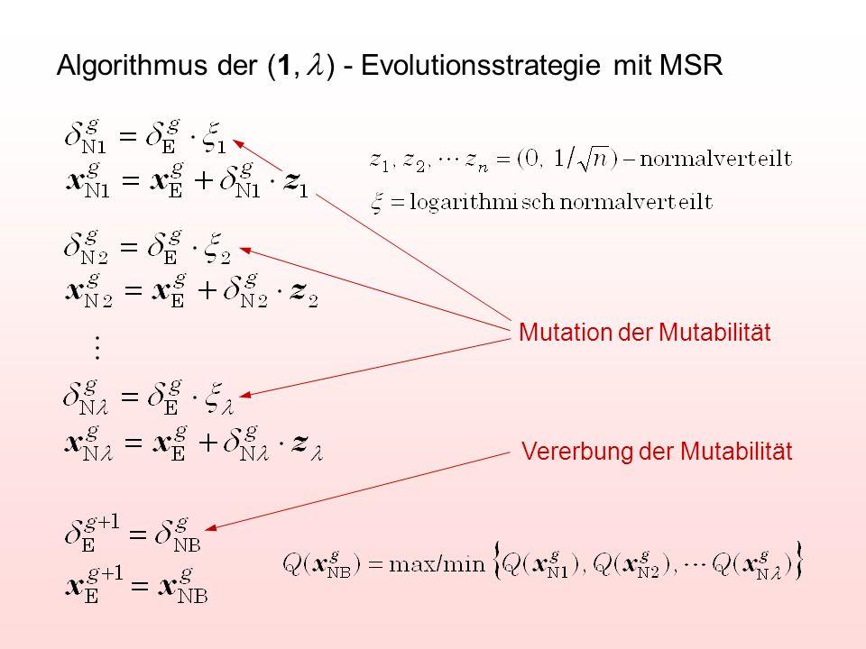 Algorithmus der (1,  ) - Evolutionsstrategie mit MSR Mutation der Mutabilität Vererbung der Mutabilität