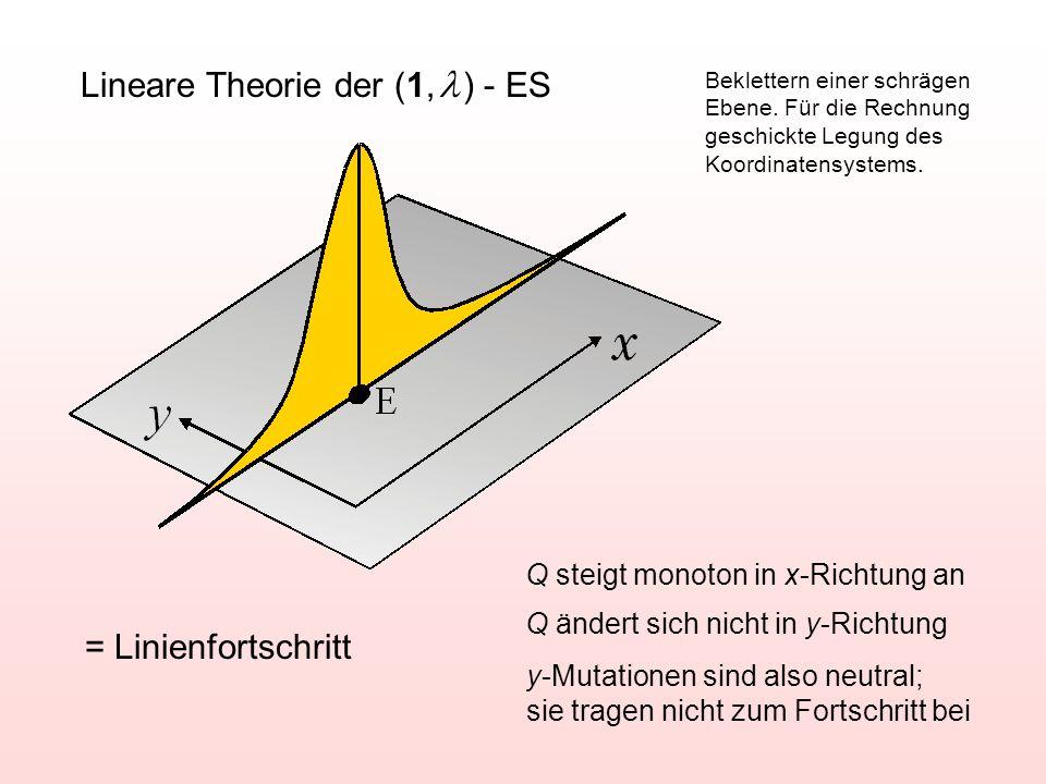 Lineare Theorie der (1,  ) - ES = Linienfortschritt Q steigt monoton in x-Richtung an Q ändert sich nicht in y-Richtung y-Mutationen sind also neutra