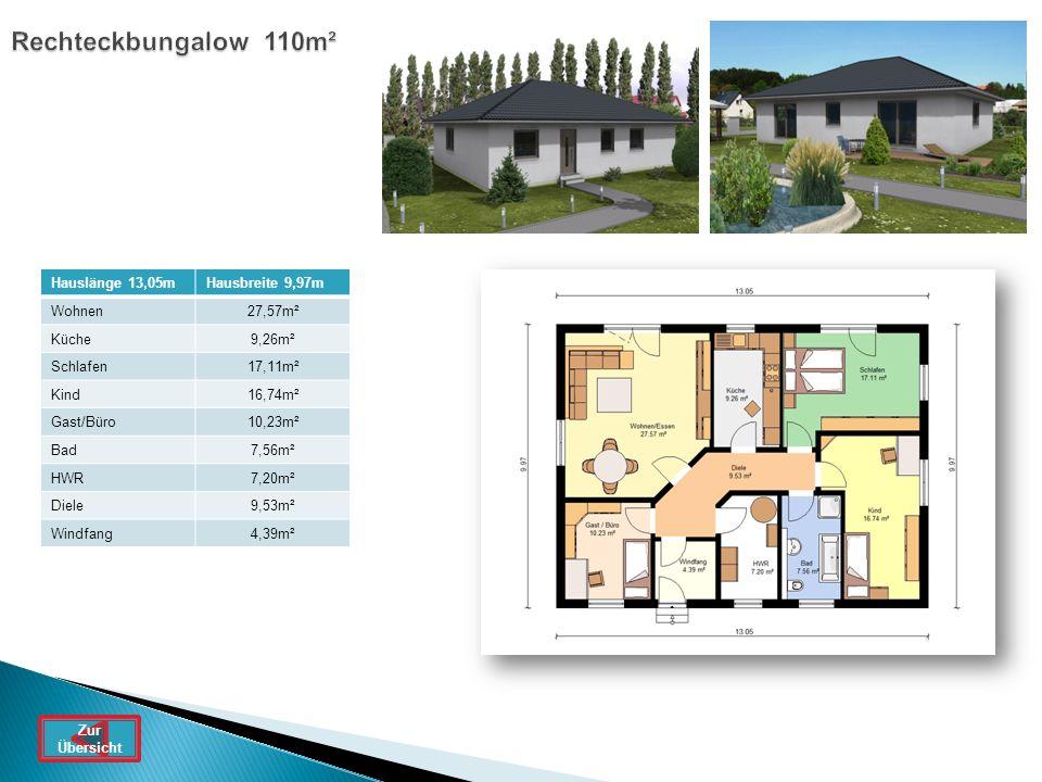 Rechteckbungalow 110m² Hauslänge 13,05mHausbreite 9,97m Wohnen27,57m² Küche9,26m² Schlafen17,11m² Kind16,74m² Gast/Büro10,23m² Bad7,56m² HWR7,20m² Die