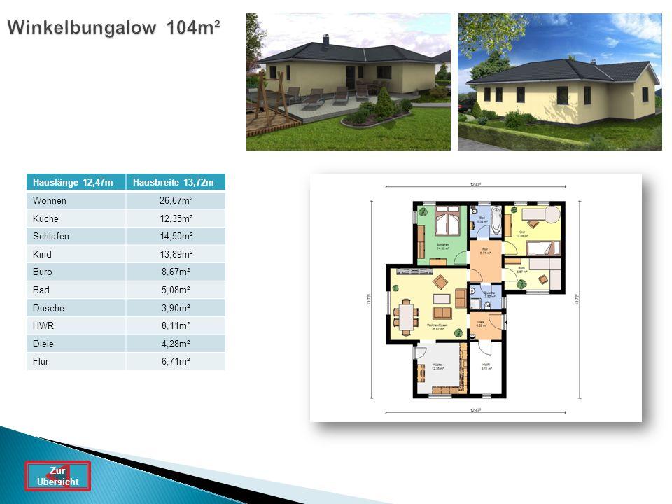 Winkelbungalow 104m² Hauslänge 12,47mHausbreite 13,72m Wohnen26,67m² Küche12,35m² Schlafen14,50m² Kind13,89m² Büro8,67m² Bad5,08m² Dusche3,90m² HWR8,1