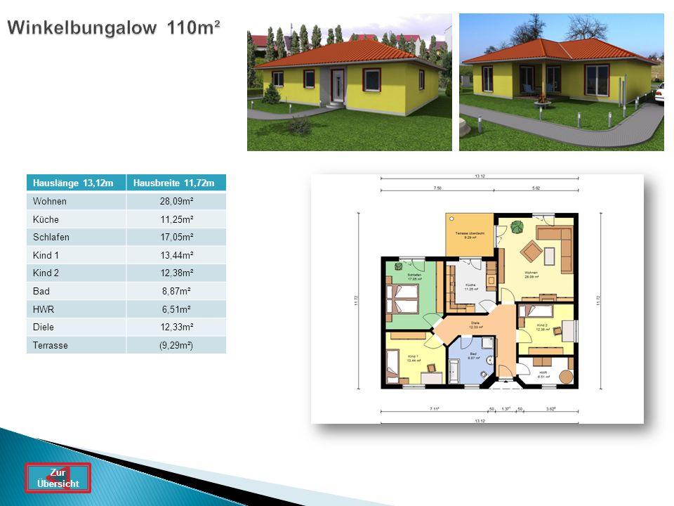 Winkelbungalow 110m² Hauslänge 13,12mHausbreite 11,72m Wohnen28,09m² Küche11,25m² Schlafen17,05m² Kind 113,44m² Kind 212,38m² Bad8,87m² HWR6,51m² Diel