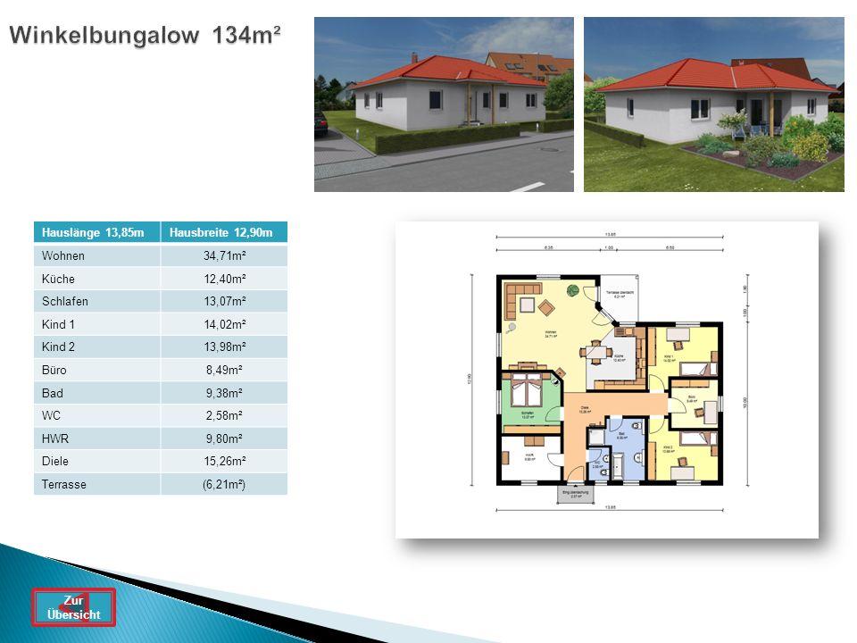 Winkelbungalow 134m² Hauslänge 13,85mHausbreite 12,90m Wohnen34,71m² Küche12,40m² Schlafen13,07m² Kind 114,02m² Kind 213,98m² Büro8,49m² Bad9,38m² WC2