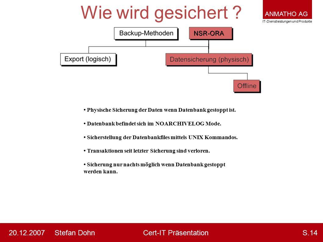 ANMATHO AG IT-Dienstleistungen und Produkte Stefan DohnCert-IT Präsentation20.12.2007S.14 Wie wird gesichert ? Physische Sicherung der Daten wenn Date