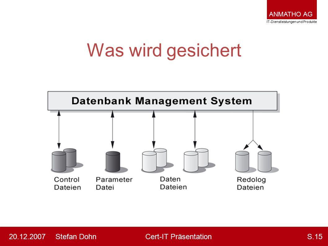 ANMATHO AG IT-Dienstleistungen und Produkte Stefan DohnCert-IT Präsentation20.12.2007S.15 Was wird gesichert
