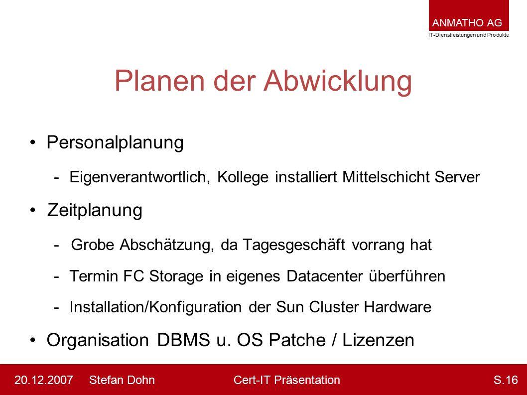 ANMATHO AG IT-Dienstleistungen und Produkte Stefan DohnCert-IT Präsentation20.12.2007S.16 Planen der Abwicklung Personalplanung -Eigenverantwortlich,