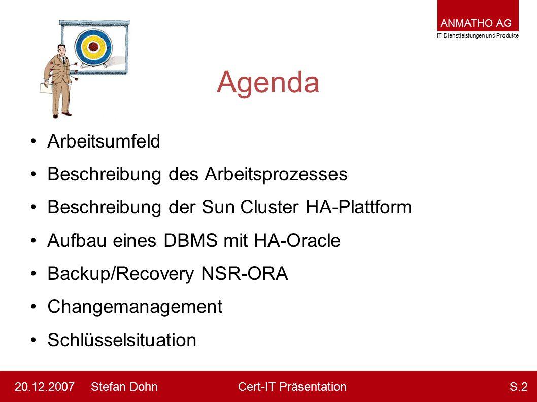 ANMATHO AG IT-Dienstleistungen und Produkte Stefan DohnCert-IT Präsentation20.12.2007S.2 Agenda Arbeitsumfeld Beschreibung des Arbeitsprozesses Beschr