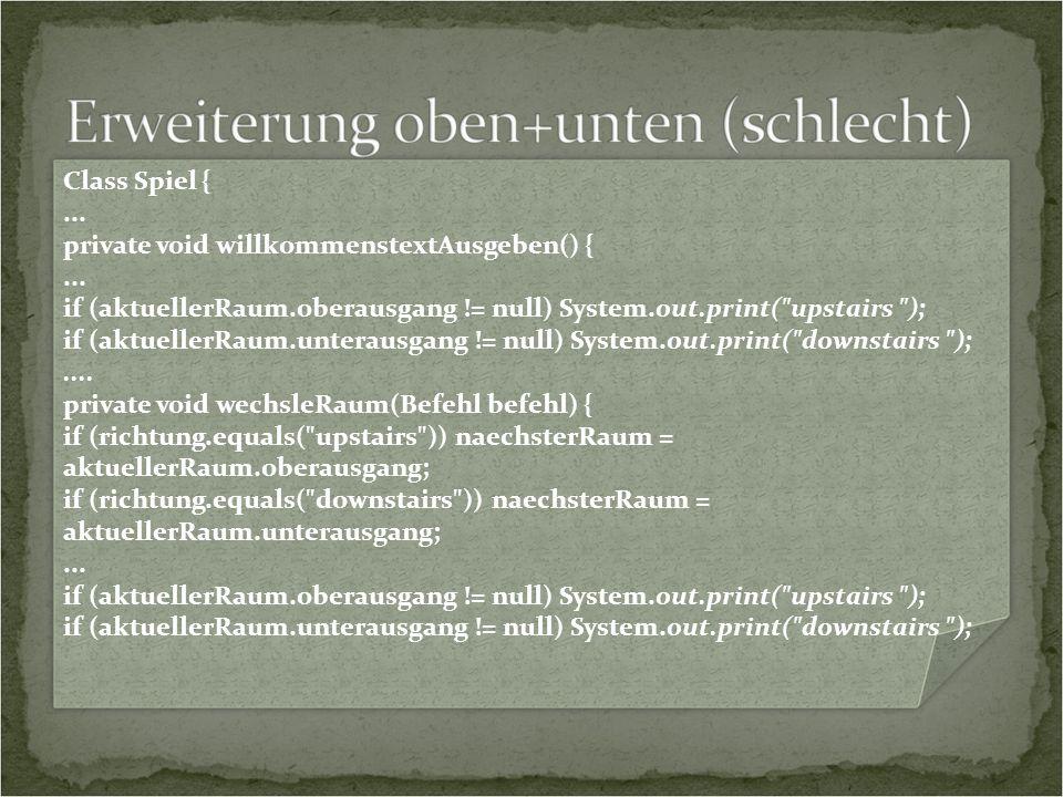 Class Spiel {... private void willkommenstextAusgeben() {...