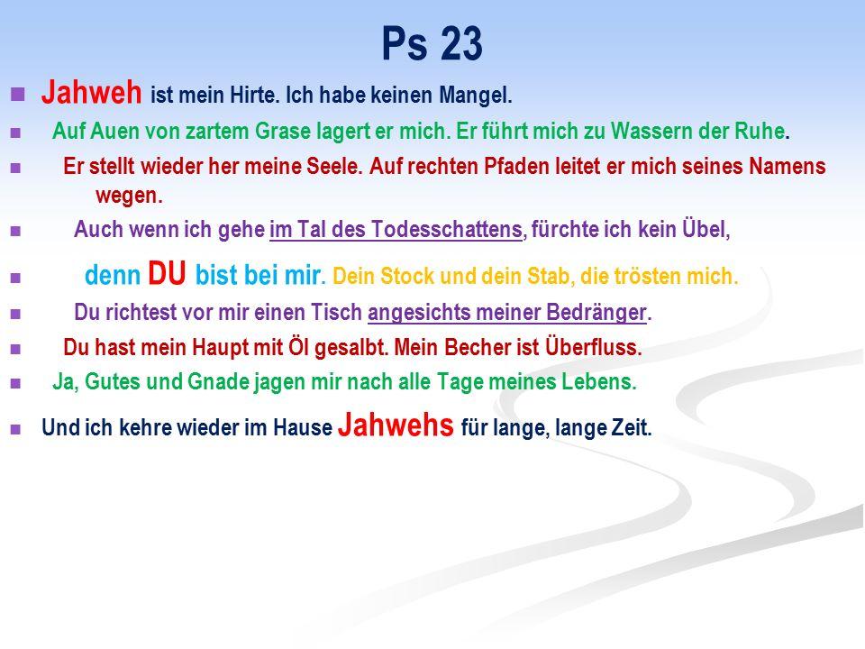 Ps 23 Jahweh ist mein Hirte. Ich habe keinen Mangel.