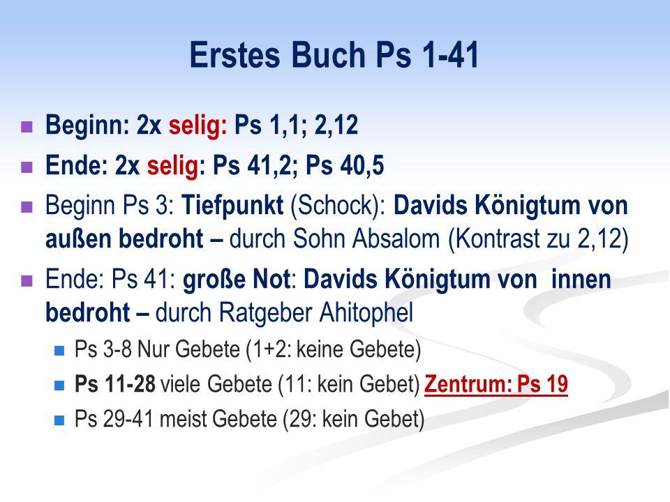 Erstes Buch Ps 1-41 Beginn: 2x selig: Ps 1,1; 2,12 Ende: 2x selig: Ps 41,2; Ps 40,5 Beginn Ps 3: Tiefpunkt (Schock): Davids Königtum von außen bedroht – durch Sohn Absalom (Kontrast zu 2,12) Ende: Ps 41: große Not : Davids Königtum von innen bedroht – durch Ratgeber Ahitophel Ps 3-8 Nur Gebete (1+2: keine Gebete) Ps 11-28 viele Gebete (11: kein Gebet) Zentrum: Ps 19 Ps 29-41 meist Gebete (29: kein Gebet)
