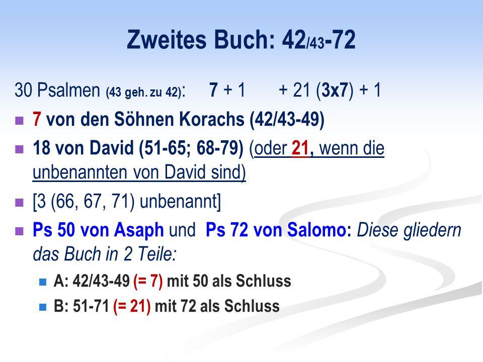 Zweites Buch: 42 /43 -72 30 Psalmen (43 geh.