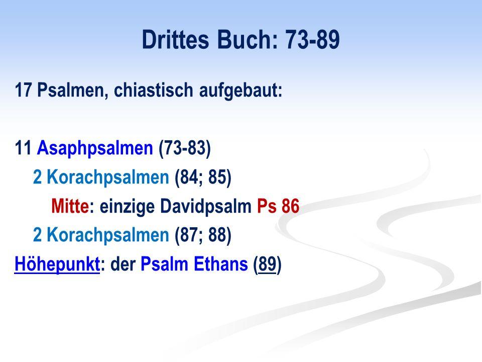 Drittes Buch: 73-89 17 Psalmen, chiastisch aufgebaut: 11 Asaphpsalmen (73-83) 2 Korachpsalmen (84; 85) Mitte: einzige Davidpsalm Ps 86 2 Korachpsalmen (87; 88) Höhepunkt: der Psalm Ethans (89)