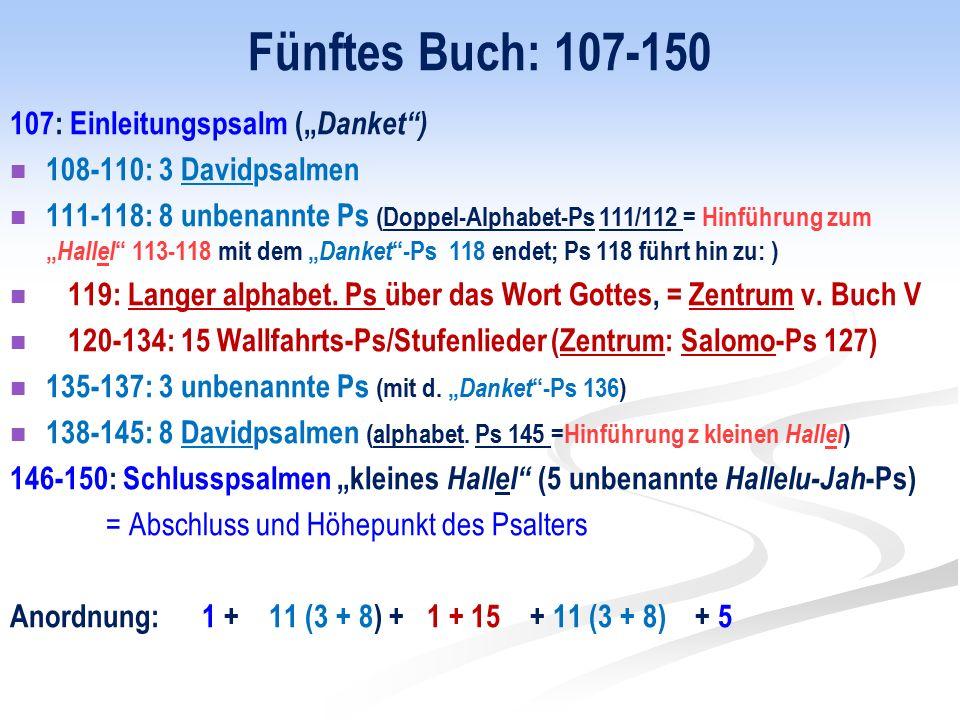 """Fünftes Buch: 107-150 107: Einleitungspsalm ("""" Danket ) 108-110: 3 Davidpsalmen 111-118: 8 unbenannte Ps (Doppel-Alphabet-Ps 111/112 = Hinführung zum """" Hallel 113-118 mit dem """" Danket -Ps 118 endet; Ps 118 führt hin zu: ) 119: Langer alphabet."""
