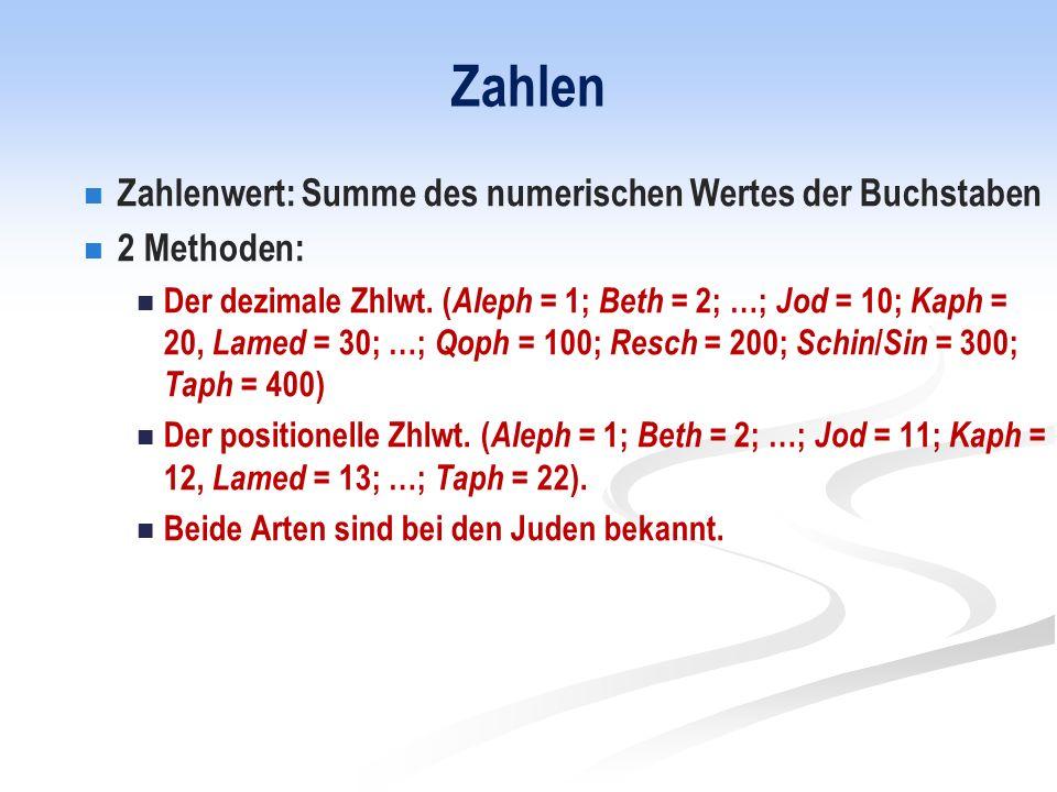 Zahlen Zahlenwert: Summe des numerischen Wertes der Buchstaben 2 Methoden: Der dezimale Zhlwt.