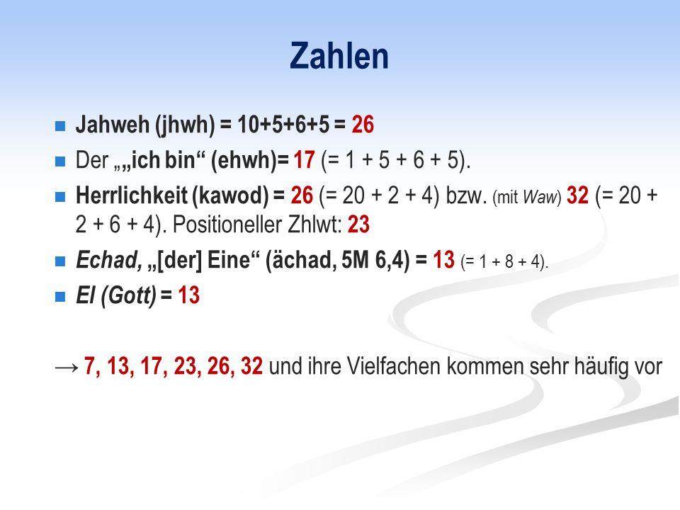 """Zahlen Jahweh (jhwh) = 10+5+6+5 = 26 Der """" """"ich bin (ehwh)= 17 (= 1 + 5 + 6 + 5)."""