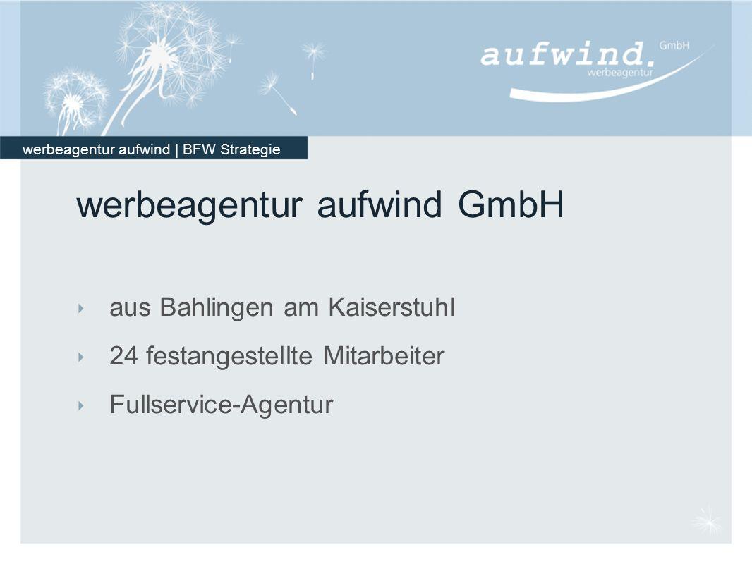 werbeagentur aufwind | BFW Strategie werbeagentur aufwind GmbH ‣ aus Bahlingen am Kaiserstuhl ‣ 24 festangestellte Mitarbeiter ‣ Fullservice-Agentur