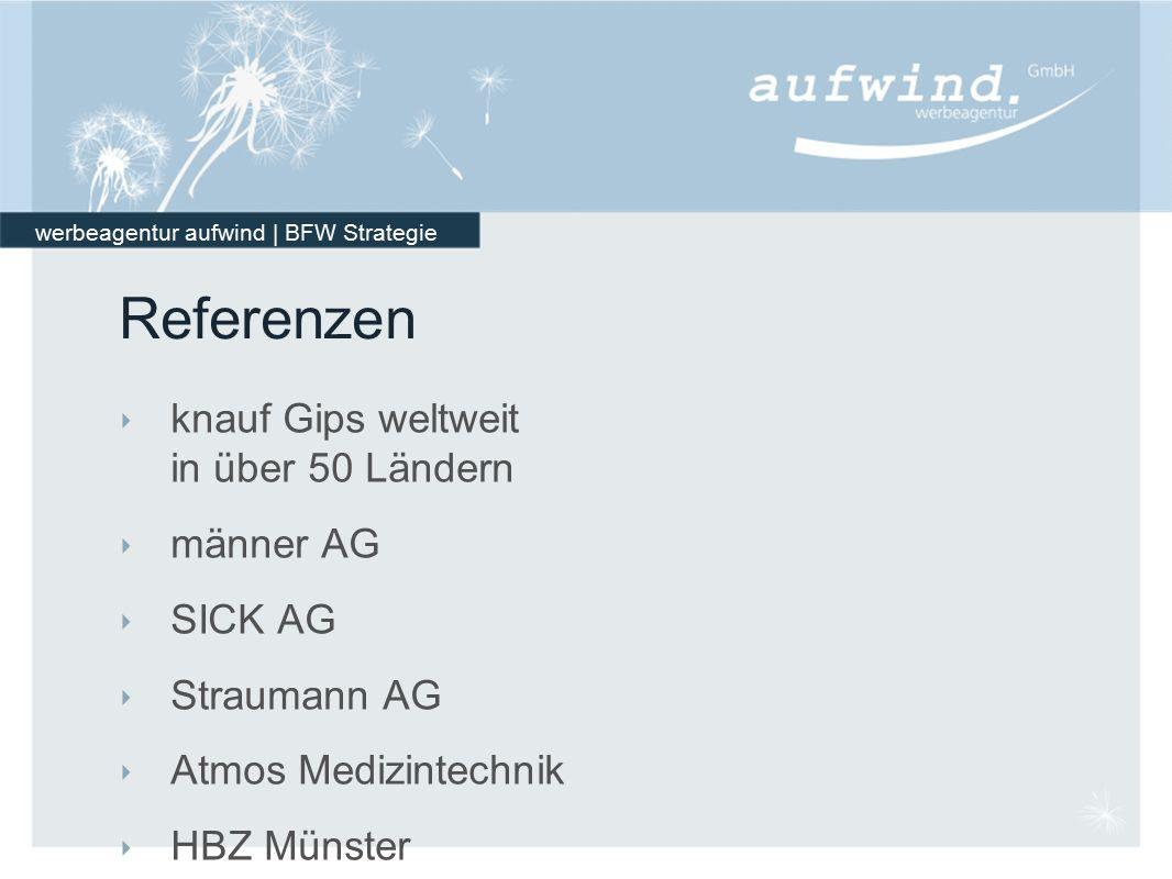 werbeagentur aufwind | BFW Strategie Referenzen ‣ knauf Gips weltweit in über 50 Ländern ‣ männer AG ‣ SICK AG ‣ Straumann AG ‣ Atmos Medizintechnik ‣ HBZ Münster ‣ HWKen Deutschlands ‣ Universität Freiburg