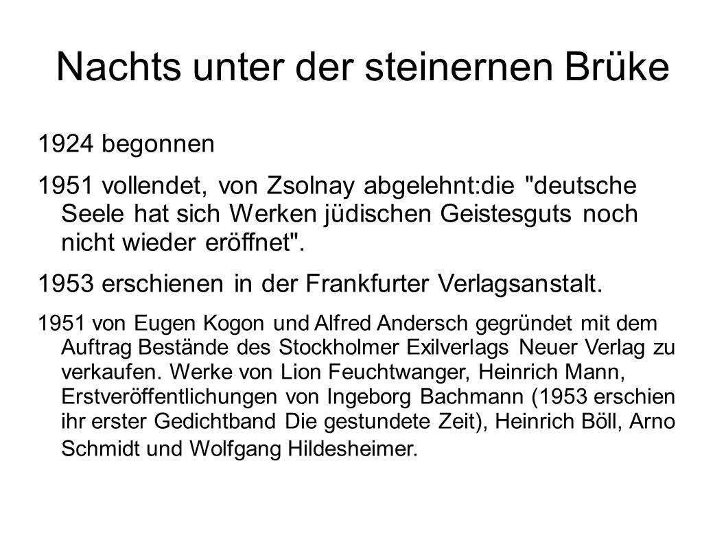Nachts unter der steinernen Brüke 1924 begonnen 1951 vollendet, von Zsolnay abgelehnt:die