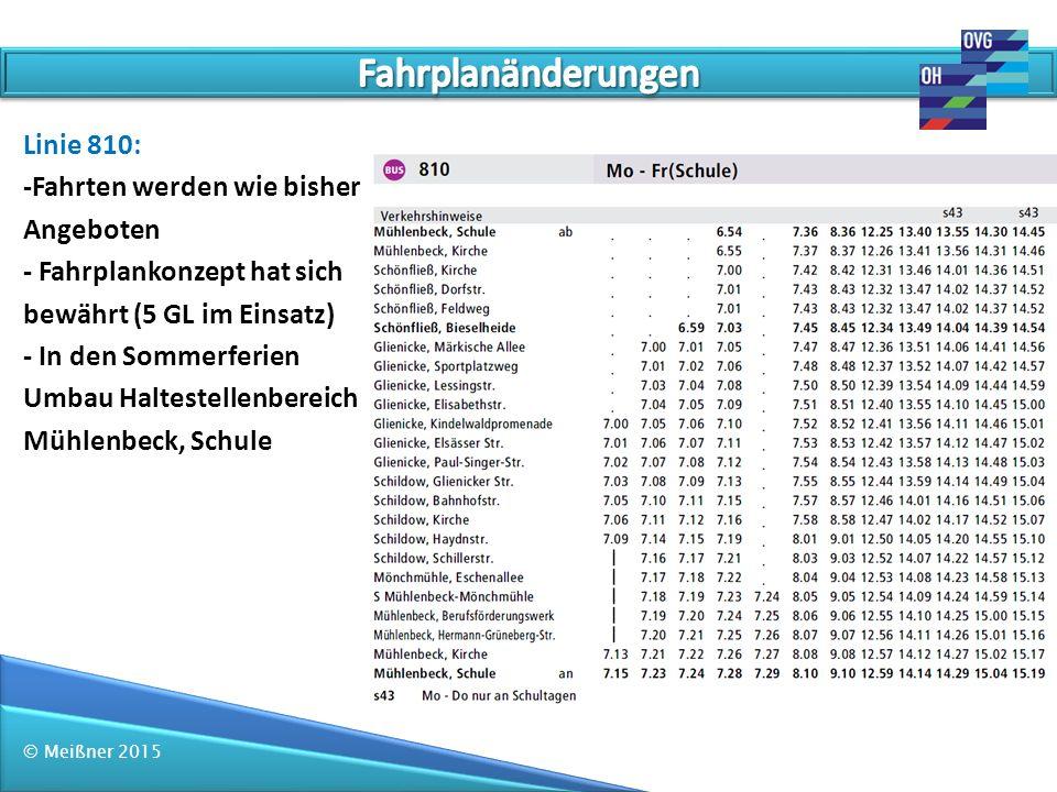 © Meißner 2015 Linie 810: -Fahrten werden wie bisher Angeboten - Fahrplankonzept hat sich bewährt (5 GL im Einsatz) - In den Sommerferien Umbau Haltes