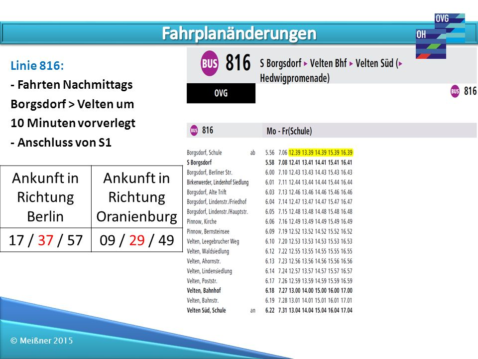 © Meißner 2015 Linie 816: - Fahrten Nachmittags Borgsdorf > Velten um 10 Minuten vorverlegt - Anschluss von S1 Ankunft in Richtung Berlin Ankunft in R