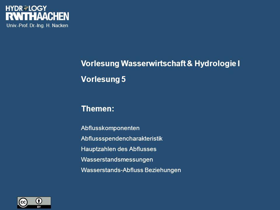 Univ.-Prof. Dr.-Ing. H. Nacken Bildquelle: BfG Wasserstandsvorhersage
