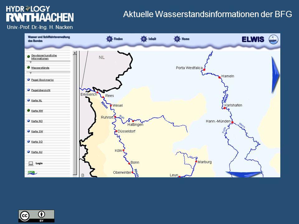 Univ.-Prof. Dr.-Ing. H. Nacken Aktuelle Wasserstandsinformationen der BFG