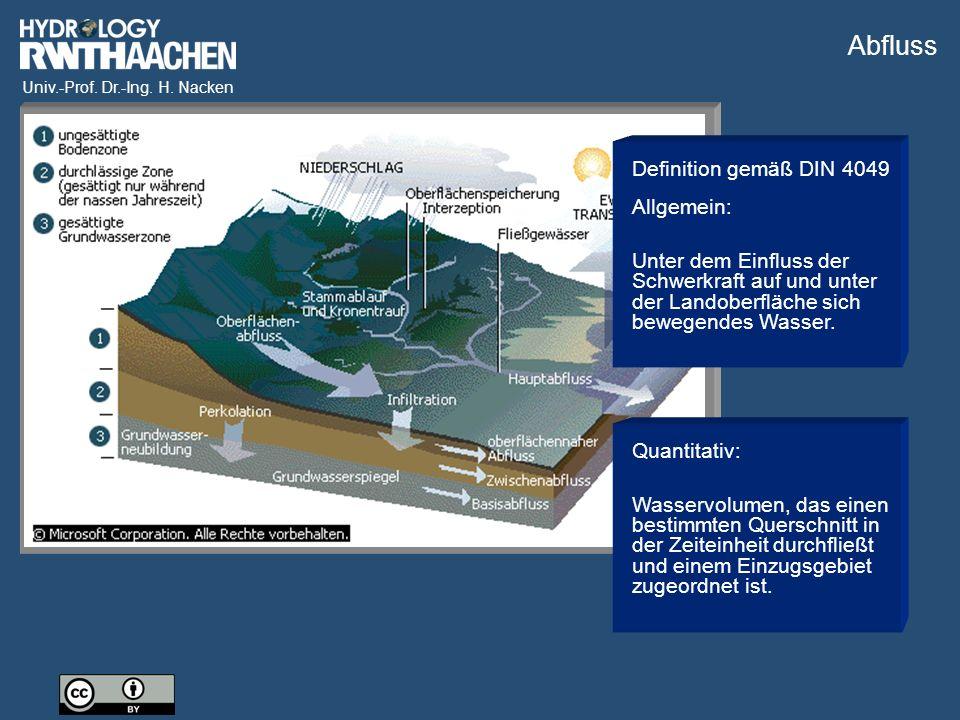 Univ.-Prof. Dr.-Ing. H. Nacken Bildquelle: ProAqua GmbH Auswertung der Durchflussmessung