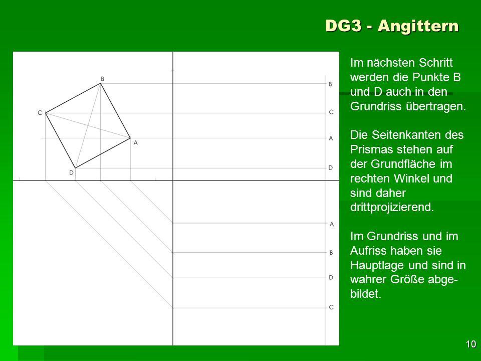 F 10 DG3 - Angittern 40 Im nächsten Schritt werden die Punkte B und D auch in den Grundriss übertragen. Die Seitenkanten des Prismas stehen auf der Gr