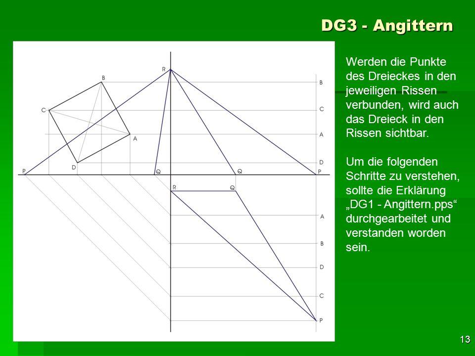 F 13 DG3 - Angittern 43 Werden die Punkte des Dreieckes in den jeweiligen Rissen verbunden, wird auch das Dreieck in den Rissen sichtbar. Um die folge