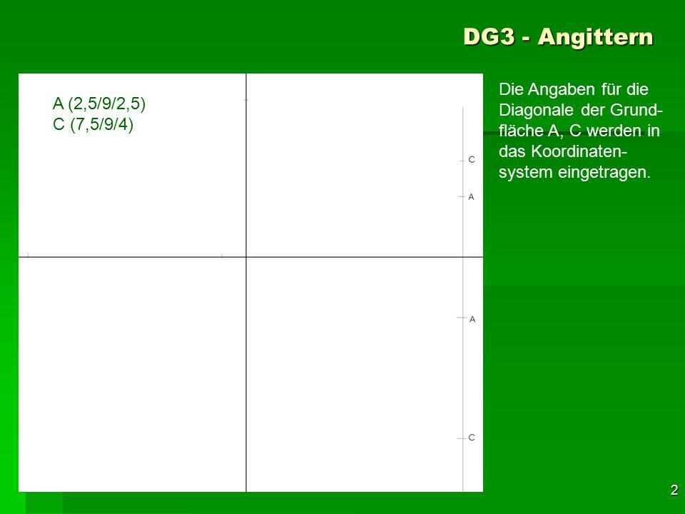 F 2 DG3 - Angittern A (2,5/9/2,5) C (7,5/9/4) Die Angaben für die Diagonale der Grund- fläche A, C werden in das Koordinaten- system eingetragen. 32