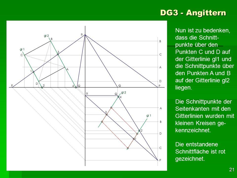 F 21 Nun ist zu bedenken, dass die Schnitt- punkte über den Punkten C und D auf der Gitterlinie gl1 und die Schnittpunkte über den Punkten A und B auf