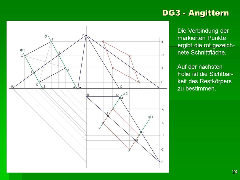 F 24 DG3 - Angittern 54 Die Verbindung der markierten Punkte ergibt die rot gezeich- nete Schnittfläche. Auf der nächsten Folie ist die Sichtbar- keit