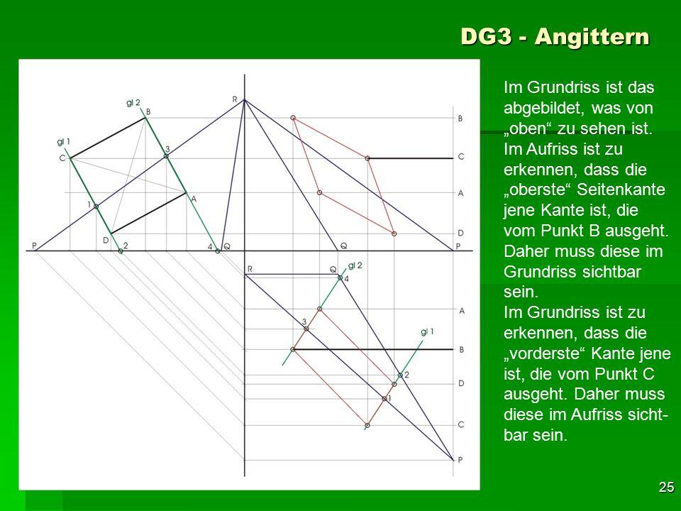 """F 25 DG3 - Angittern 55 Im Grundriss ist das abgebildet, was von """"oben"""" zu sehen ist. Im Aufriss ist zu erkennen, dass die """"oberste"""" Seitenkante jene"""