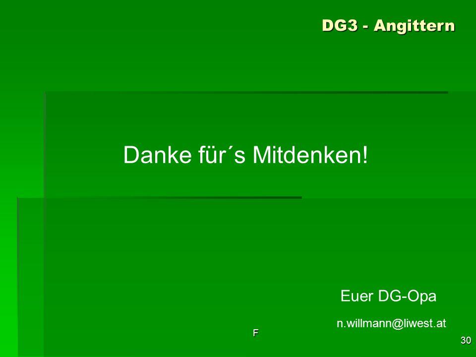 F 30 Danke für´s Mitdenken! n.willmann@liwest.at DG3 - Angittern Euer DG-Opa