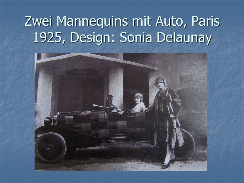 Zwei Mannequins mit Auto, Paris 1925, Design: Sonia Delaunay