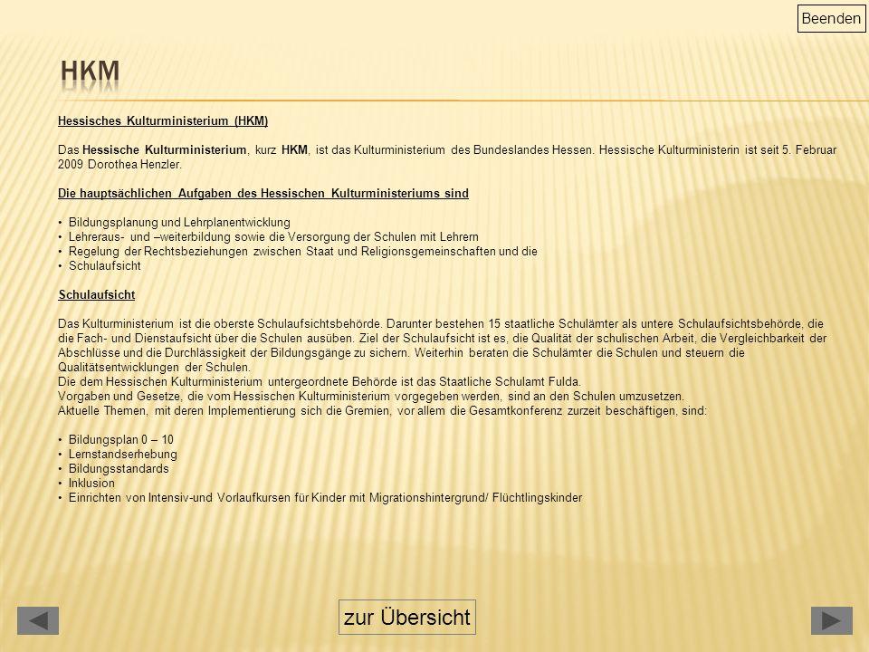 Hessisches Kulturministerium (HKM) Das Hessische Kulturministerium, kurz HKM, ist das Kulturministerium des Bundeslandes Hessen.