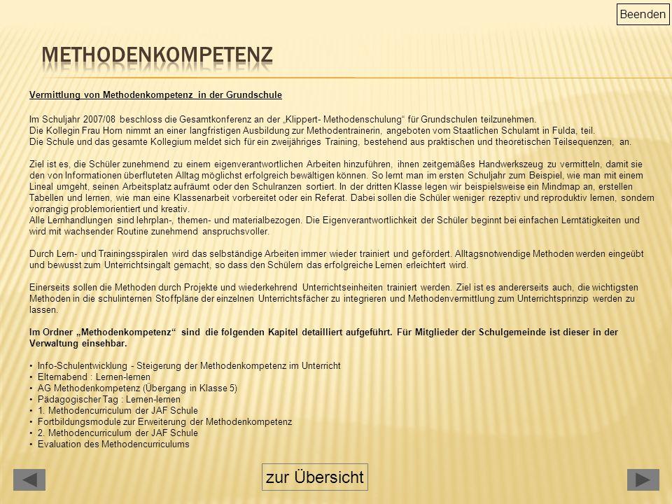 """Vermittlung von Methodenkompetenz in der Grundschule Im Schuljahr 2007/08 beschloss die Gesamtkonferenz an der """"Klippert- Methodenschulung für Grundschulen teilzunehmen."""